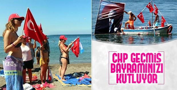 CHP'li belediyeden plajda 30 Ağustos kutlaması
