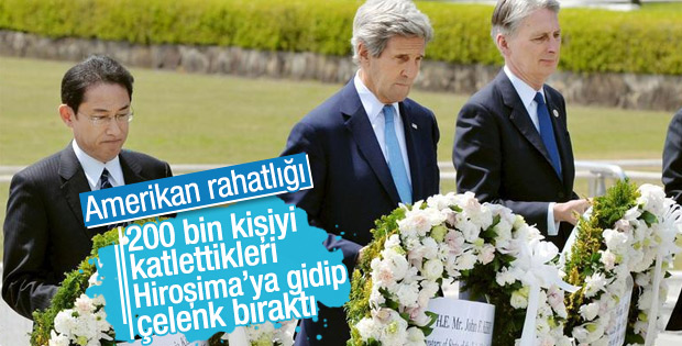 John Kerry Hiroşima Anıtı'na çelenk bıraktı