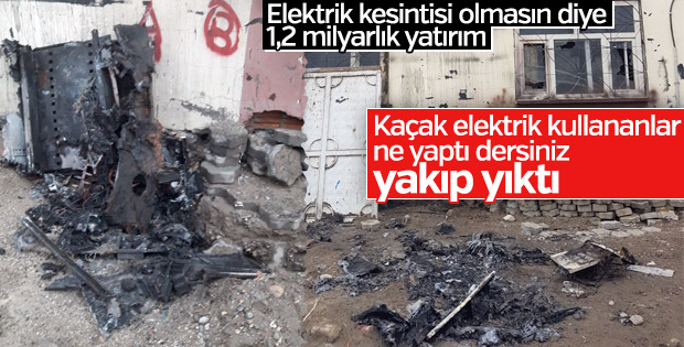 Cizre'de kaçak elektriği önleyen panolar tahrip edildi