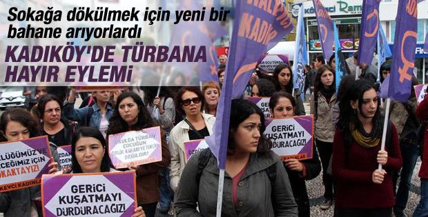 Kadıköy'de türbana hayır eylemi İZLE
