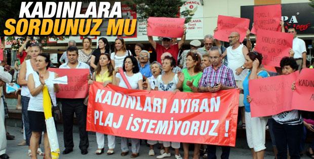 Antalya'da Kadınlar Plajı'na tepki eylemi