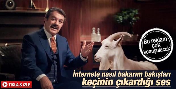Kadir İnanır'ın keçi ile oynadığı ilginç reklam İZLE