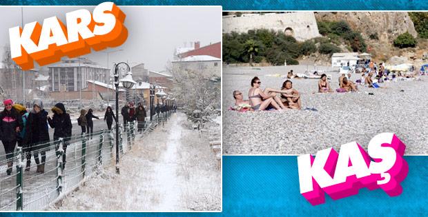 Kars'ta kar yağıyor, Antalya'da denize giriyorlar