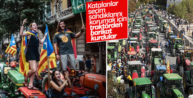 Katalonya'da referandum sandıklarına traktörlü koruma