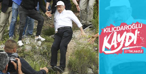 Yola inmek isteyen Kılıçdaroğlu kayarak düştü VİDEO
