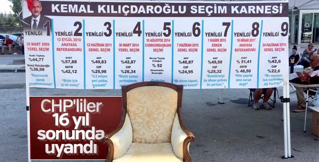 CHP'de yaşananları özetleyen pankart