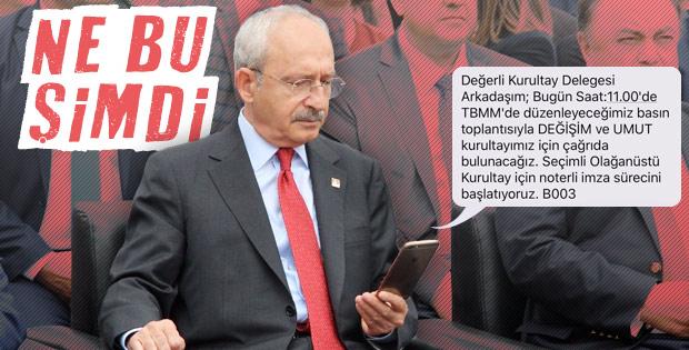 CHP'de delegelere gönderilen kurultay SMS'i