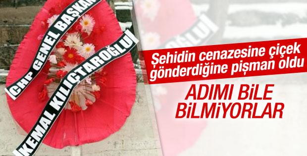Şehidin cenazesinde CHP'lileri kızdıran çelenk