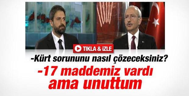 Kılıçdaroğlu Kürt sorunu manifestosunu sayamadı