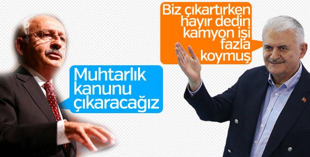 Yıldırım ve Kılıçdaroğlu'nun 'muhtar kanunu' açıklamaları
