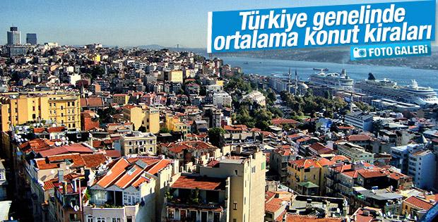 Türkiye genelinde ortalama konut kirası bedelleri