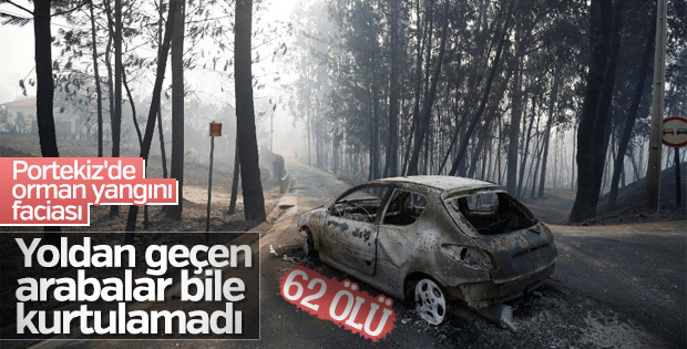Portekiz'de alevlerin ortasında kalan araçlar