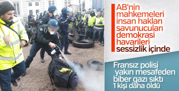 Fransız polisinden orantısız biber gazı kullanımı
