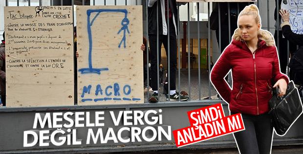 Fransa'da üniversitede Sarı Yelekliler'e destek eylemi