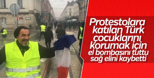 'Sarı Yelekliler' protestosuna katılan Türk elini kaybetti