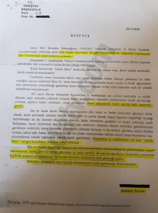 Danıştay Savcısı: TSK'da başını örtmek laiklik ilkesine aykırı