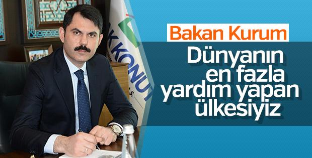 Bakan Kurum: En fazla yardım yapan ülkeyiz