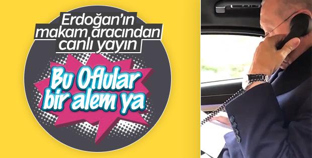 Cumhurbaşkanı Erdoğan'ın makam aracındaki görüşmesi