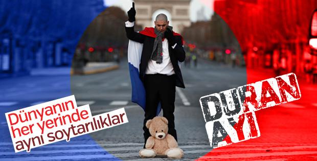Fransa'da polise karşı duran ayı