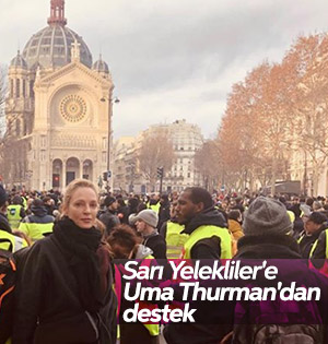 Uma Thurman Paris'te protestocularla bir arada