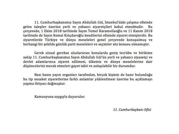 Gül'den Kılıçdaroğlu ve Karamollaoğlu açıklaması