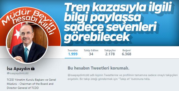 TCDD Genel Müdürü sosyal medya hesabını kapattı