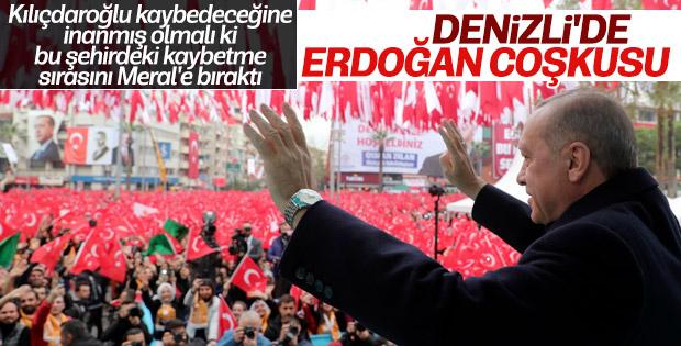 Cumhurbaşkanı Erdoğan'a Denizli'de coşkulu karşılama