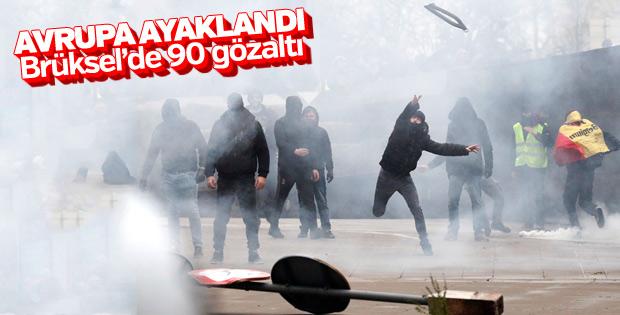 Brüksel'de göç karşıtı gösteriler: 90 gözaltı