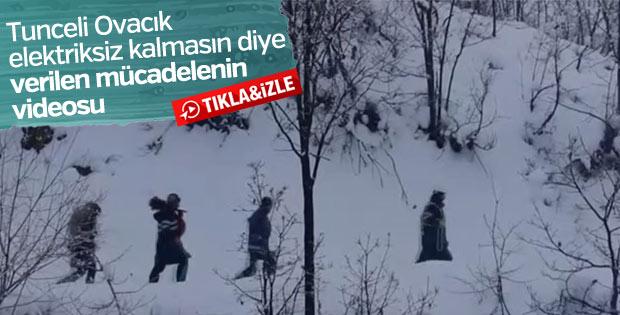 Zorlu kış şartlarında Ovacık'a elektrik götürme çabası