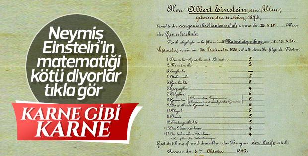 Albert Einstein'ın 1896 yılından kalma karnesi