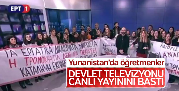Yunanistan'da devlet televizyonunu protestocular bastı