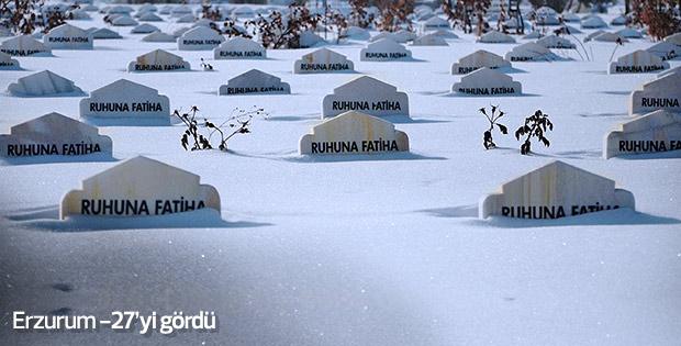 Erzurum'da soğuk hava etkili oluyor
