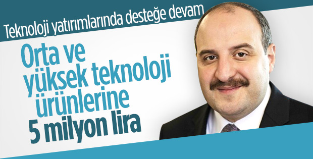 Teknoloji alanındaki ürünlere 5 milyon lira destek