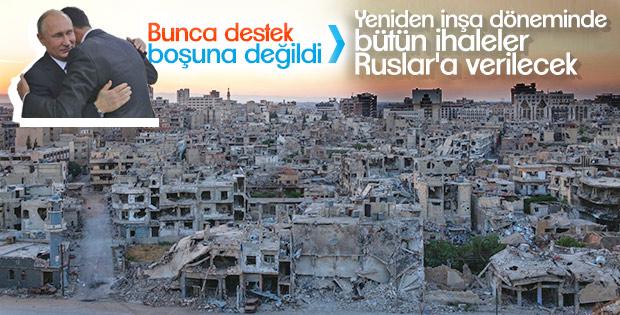 Esad: Suriye'nin yeniden inşasında öncelik Rusların