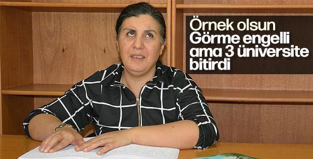 Ankara'da görme engelli kadın 3 üniversite bitirdi