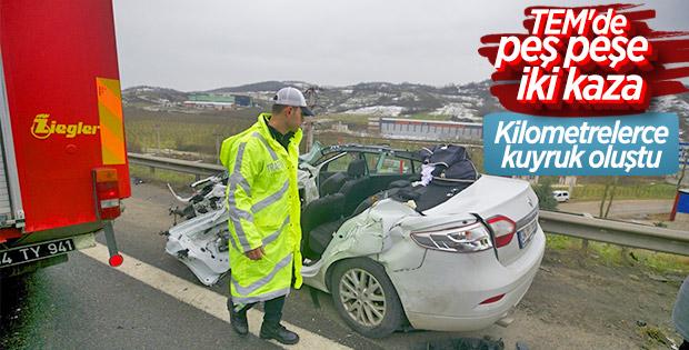 TEM otoyolunu felç eden trafik kazası