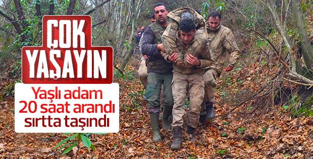 Jandarma kayıp adamı bulup sırtında taşıdı