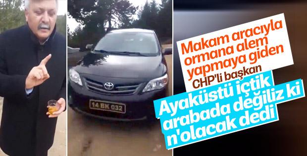 CHP'li belediye başkanı resmi aracıyla içki içti