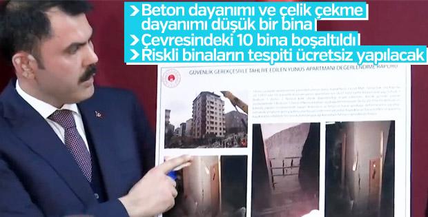 Bakan Kurum çöken bina ile ilgili konuştu