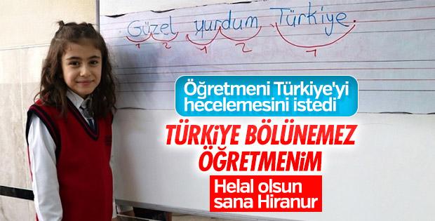 Elazığ'da küçük öğrenci Hiranur'un Türkiye hassasiyeti