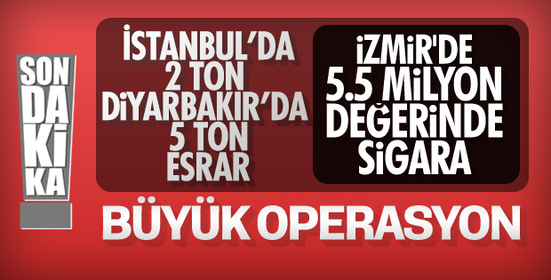 İstanbul'da 2, Diyarbakır'da 5 ton uyuşturucu, İzmir'de sigara yakalandı