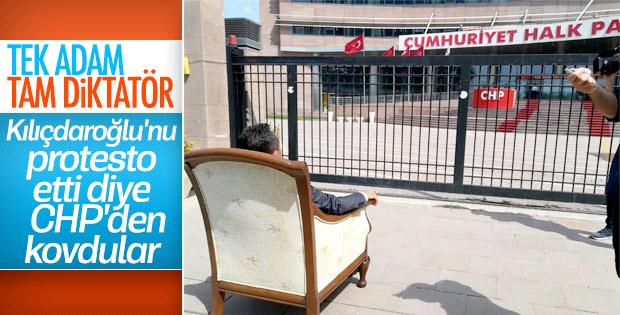 Koltuklu protesto yapan CHP'li ihraç edildi