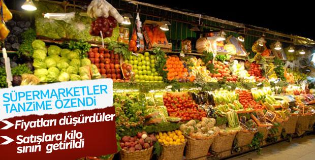 Süpermarketler de sebzelere kilo sınırı koydu