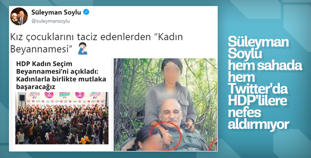 Süleyman Soylu, HDP'ye Twitter'da da göz açtırmıyor