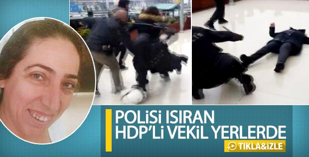 Polisi ısıran HDP'li vekilin düşme anı