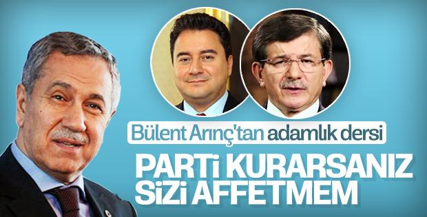Arınç: Davutoğlu, Babacan parti kurarsa affetmem