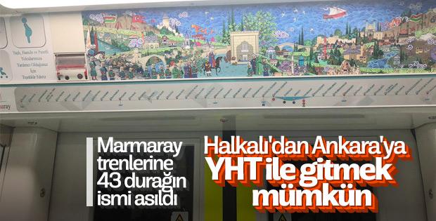 Marmaray trenlerinde 43 duraklı tabelalar asıldı