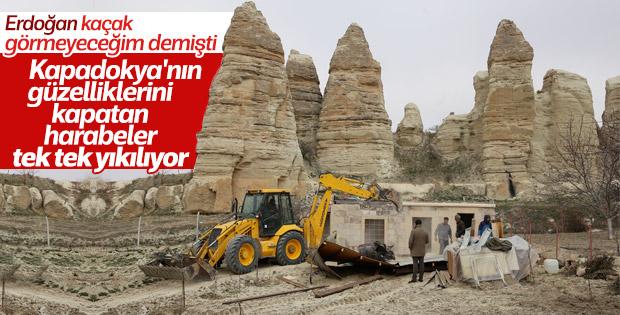 Kapadokya'daki yıkım çalışmaları devam ediyor