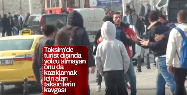 İstanbul göbeğinde taksicilerin müşteri kavgası
