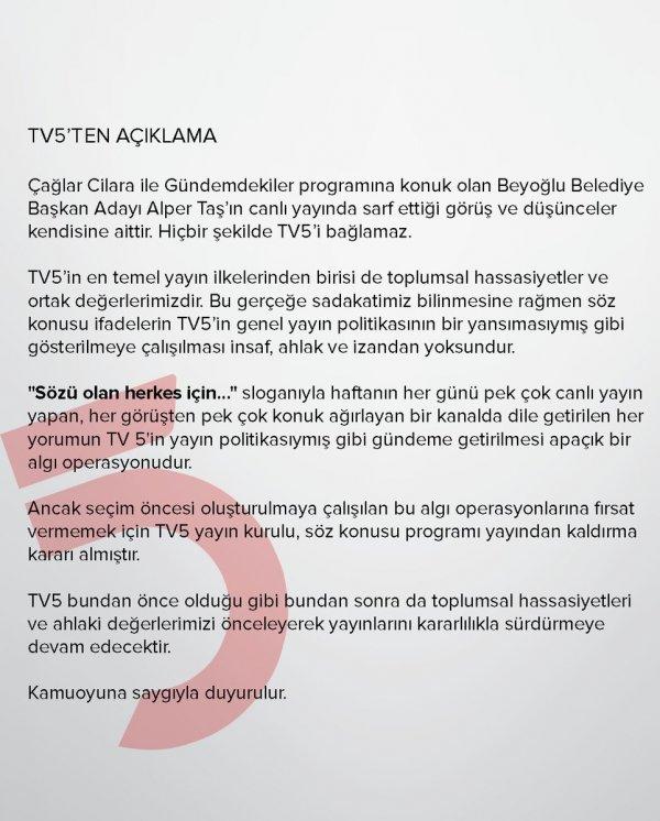 Çağlar Cilara TV5'ten kovuldu